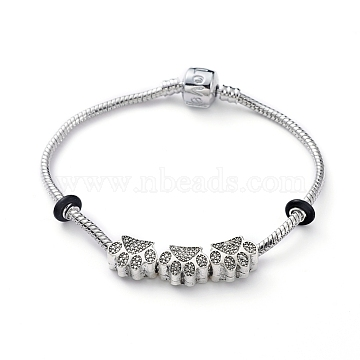 European Bracelets, with Tibetan Style Alloy Beads, Rubber Spacer Beads and Brass Clasps, Dog Paw Prints, Antique Silver & Platinum, 7-1/8 inches(18cm), 3mm(X-BJEW-JB04856-02)