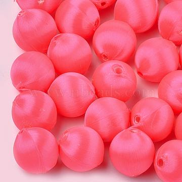 15mm Fuchsia Round Polyester Beads