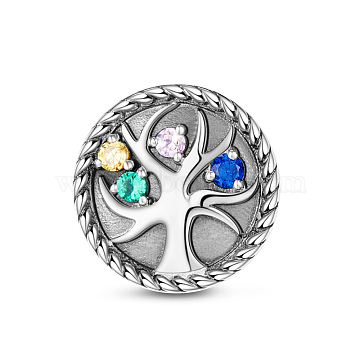 TINYSAND 925 Sterling Silver Tree of Life Cubic Zirconia European Beads, Platinum, Colorful, 12.46x12.27x8.6mm, Hole: 4.49mm(TS-C-165)