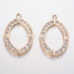 Gros pendentifs ovales en fer avec strass, or, 67x45x5mm, Trou: 6mm(IFIN-L022-03)