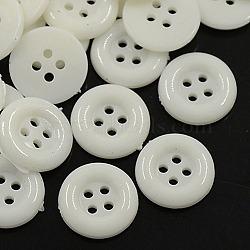 Boutons acryliques, boutons de couture en plastique pour la conception de costumes, 4-trou, teint, plat rond, blanc, 12x2mm, Trou: 1mm(X-BUTT-E075-A-01)