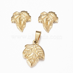 304 Stainless Steel Jewelry Sets, Pendants and Stud Earrings, Leaf, Golden, 15x12x3mm, Hole: 5x3mm; 12x11x1.5mm, Pin: 0.8mm(SJEW-H116-76G)