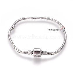 Laiton bracelets de style européen faisant, avec fermoirs en laiton, fermoir sans logo, couleur platine, environ 18 cm de long (à l'exception de la longueur de boucle), épaisseur de 3mm, 2 trou mm(X-PPJ004Y)