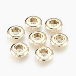 perles d'alliage, plaqué longue durée, grandes perles de trou, sans cadmium et sans nickel et sans plomb, donut, or, 14x5 mm, trou: 5 mm(MPDL-E027-03G-NR)