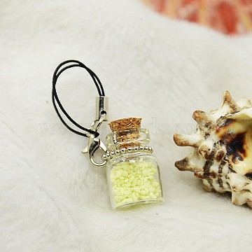Glass Wishing Bottle Phone Mobile Accessories, with Noctilucent powder and Wooden Bung, Yellow, 84mm(MOBA-J001-01)