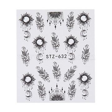 наклейки для ногтей, самоклеящийся, для украшения ногтей, черный, 6.3x5.2 cm(X-MRMJ-Q042-C03)