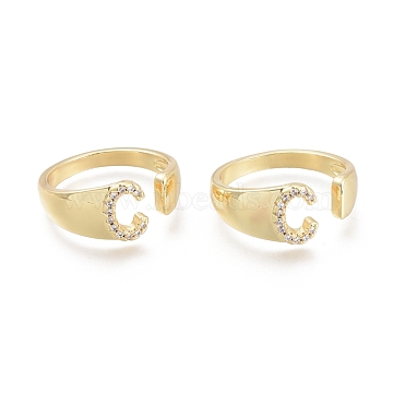 Brass Micro Pave Clear Cubic Zirconia Cuff Rings, Open Rings, Letter, Letter.C, US Size 6(16.5mm); C: 8.5x6mm(RJEW-F103-13C-G)