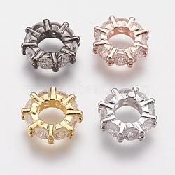 Anneau de liaison zircone cubique en laiton micro pave, anneau, couleur mixte, 11x3mm, Trou: 5mm(ZIRC-G133-14)