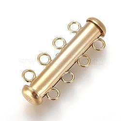 résultats jk, fermetures à glissière en or jaune, 4 brin, 8-trou, Tube, 1 / 20 14 k rempli d'or, 26x10 mm, trou: 2 mm(KK-F779-01G)