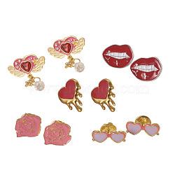 Broches émaillées en alliage, broche en émail, à trouver laiton, coeur & lèvre & fleur & coeur avec aile & lunettes, couleur mélangée, 10 ensembles / sac(JEWB-X0001-05)