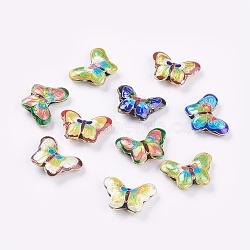 Handmade Cloisonne Beads, Butterfly, Mixed Color, 17x23x5mm, Hole: 2mm(X-CLB-S002-50)