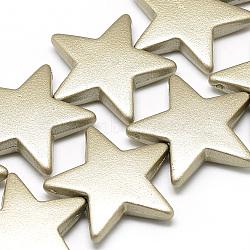 Perles surlignées acryliques opaques peintes par pulvérisation, étoiles, or, 26x28x6mm, Trou: 1.5mm(X-ACRP-Q025-B02)