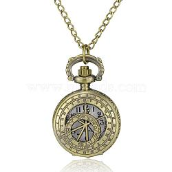 Roman Numbers Flat Round Alloy Quartz Pocket Watches, with Iron Chains and Lobster Claw Clasps, Antique Bronze, 31.4inches; Watch Head: 40x27x12mm; Watch Face: 18mm(WACH-N039-20AB)
