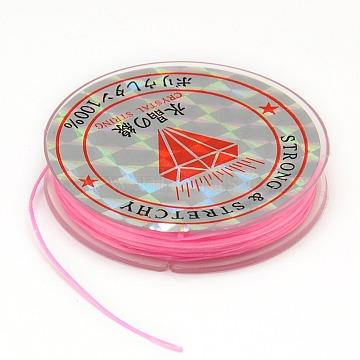 Flat Elastic Crystal String, String Cord Crystal Threads, Pearl Pink, 0.6mm, about 10.93 yards(10m)/roll(X-EW-F001-09)