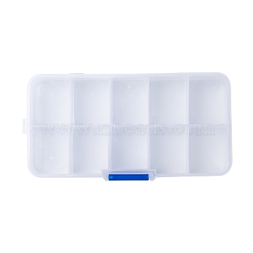 Plastic Bead Storage Containers, Stationary 10 Compartments, Random Style, Rectangle, Clear, 13x6.7x2.15cm, Hole: 0.55mm(X-CON-R008-01)