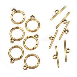 Fermoirs T de style tibétain , sans plomb et sans cadmium et sans nickel, anneau, Or antique, taille: anneau: environ 15 mm de diamètre, épaisseur de 2mm, Trou: 2mm, bar: 21 mm de long, Trou: 2mm(X-TIBEP-A12208-G-FF)