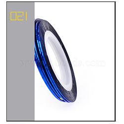 Ligne de bande de marquage laser, nail art autocollant conseils décoration, rouleau d'autocollants nail art, bleu, 4.3cm; 20m / rouleau(MRMJ-L003-A22)