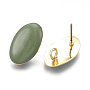 Light Gold Dark Green Oval Alloy Stud Earring Findings(X-PALLOY-S121-04B)