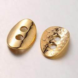 Boutons en laiton, 2-trou, ovale martelé, or, 14x10x1mm, Trou: 2mm(KK-A132-01G)