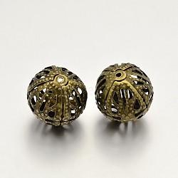 Round Iron Filigree Beads, Filigree Ball, Antique Bronze, 12mm, Hole: 1mm(X-IFIN-N3285-05AB-12mm)