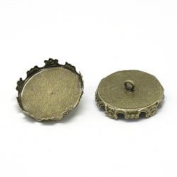 ballons de fer pour globe en verre, plat rond, bronze antique, plateau: 15 mm; 16x7~8 mm, trou: 2 mm(MAK-Q011-22AB-15mm)