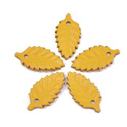 pendentifs environnementaux de peau de vache, feuille, or, 26x14x1.5 mm, trou: 2 mm(FIND-T045-33E)
