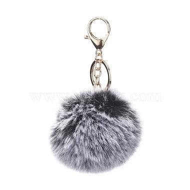 Black Round Alloy Keychain