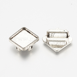 Tibetan Style Alloy Slide Charms Cabochon Settings, Lead Free, Rhombus, Antique Silver, Tray: 12mm; 18.5x18.5x5.5mm, Hole: 11x2.5mm; side length: 14mm(X-TIBE-S317-04AS-LF)
