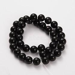pierre naturelle perles rondes obsidienne brins, 6 mm, trou: 0.8 mm; environ 65 perle / brin, 15.5(G-O030-6mm-08)
