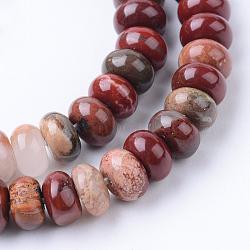 rouge naturel perles de jaspe brins, rondelle, 6x4 mm, trou: 1 mm; environ 104 perle / brin, 15.7(X-G-R403-4x6-06)