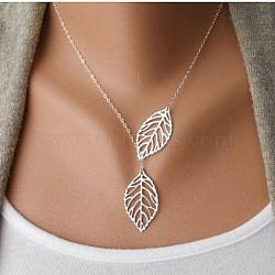 """Simples colliers lariat en alliage de feuilles creuses, argent antique, 16.5""""(NJEW-N0052-002A)"""
