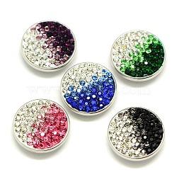 deux boutons TONE argile polymère en laiton strass, boutons ronds bijoux snap plats, sans plomb libre et nickel et cadmium libre, platine, couleur mélangée, 20x6.5 mm; bouton: 5.5 mm(X-SNAP-A049-20mm-B-NR)