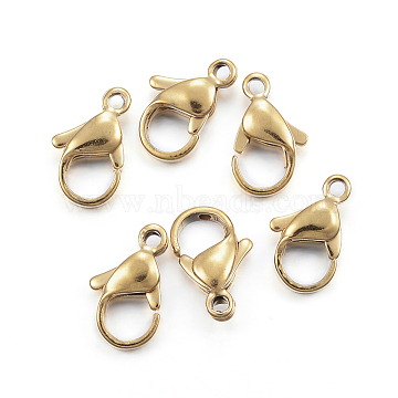 Vacuum Plating 304 Stainless Steel Lobster Claw Clasps, Parrot Trigger Clasps, Golden, 12x7x3.5mm, Hole: 1.5mm(X-STAS-H352-01E-G)