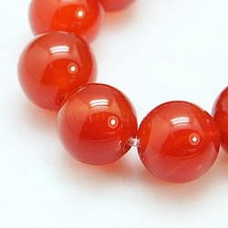 Natural Red Agate/Carnelian Beads Strands, Grade A, Dyed, Round, 8mm, Hole: 1mm; 24pcs/strand, 8inches