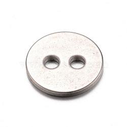 Boutons en acier inoxydable 304, 2-trou, plat rond, couleur inoxydable, 12x1mm, Trou: 2mm(X-STAS-D429-77)