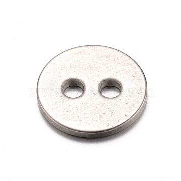 304 Stainless Steel Buttons, 2-Hole, Flat Round, Stainless Steel Color, 12x1mm, Hole: 2mm(X-STAS-D429-77)