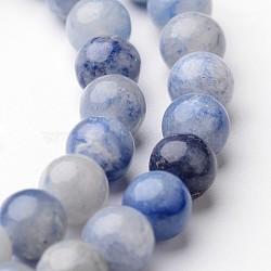 """Круглые нити шарик натуральный голубой авантюрин, 6 мм, Отверстие : 1 мм; около 63~65 шт / нитка, 15""""(G-J346-23-6mm)"""