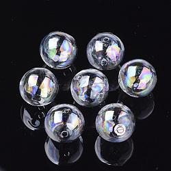 billes de globe en verre soufflé à la main, ab couleur plaquée, arrondir, clair ab, 16x15.5 mm, trou: 1~2.5 mm(X-DH017J-1-16mm-AB)