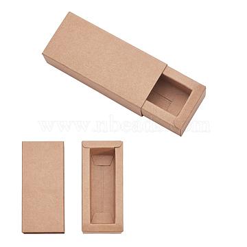 Kraft Paper Drawer Box, Folding Box, Corrugated E-flute Box, Rectangle, BurlyWood, Finished Product: 9.5x4cm; Inside Size: 8x2.5x2.5cm, 24pcs/set(CON-YW0001-02A-A)