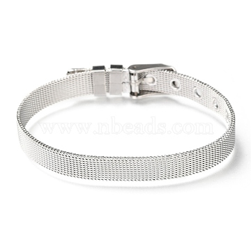 304 Stainless Steel Watch Bands, Watch Belt Fit Slide Charms, Original Color, 8-1/2 inches(21.5cm); 8mm(WACH-P015-02L)