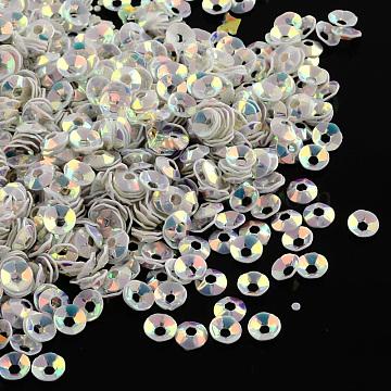 Ornament Accessories Disc Shape Plastic Paillette Beads, Sequins Beads, Creamy White, 4x1mm, Hole: 1.5mm(X-PVC-Q018-4mm-319)