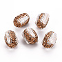 Polymer Clay Rhinestone Beads, with Natural Cultured Freshwater Pearl, Column, Light Colorado Topaz, 24~26x16~18x16~18mm, Hole: 1mm