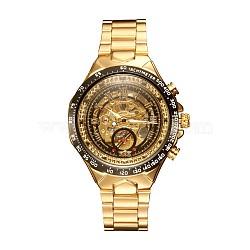 вахта сплава головка механические часы, с часами из нержавеющей стали, золотой, 220x18 мм; смотреть голову: 57x47.5x17 мм; смотреть лицо: 35 мм(WACH-L044-05G)