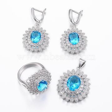 Trendy Brass Micro Pave Cubic Zirconia Jewelry Sets, Pendants & Hoop Earrings & Finger Rings, Oval, Platinum, DeepSkyBlue, Size 8(18mm); 36x24.5x10mm, Hole: 6x4mm; 40x21x9mm, Pin: 1mm(SJEW-H078-18mm-21)