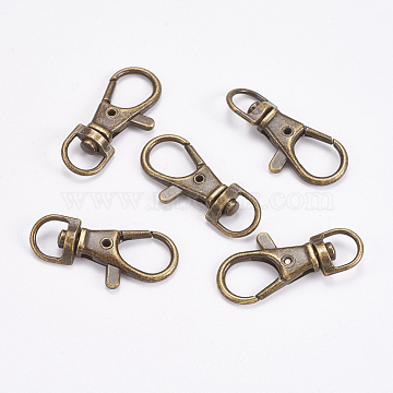 Zinc Alloy Swivel Lobster Claw Clasps, Swivel Snap Hook, Antique Bronze, 35x16.5x6mm, Hole: 8.5x5mm(PALLOY-WH0011-01AB)