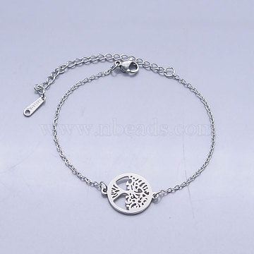 201 Stainless Steel Link Bracelets, with Lobster Claw Clasps, Tree of Life with Flat Round, Stainless Steel Color, 6-5/8 inches(16.8~16.9cm)(BJEW-T011-JN489-1)