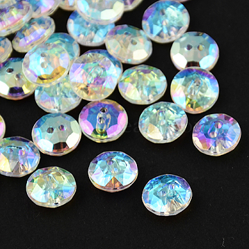2-Hole Taiwan Acrylic Rhinestone Flat Round Buttons, Faceted, Clear, 13x5mm, Hole: 1mm(BUTT-F015-13mm-15)