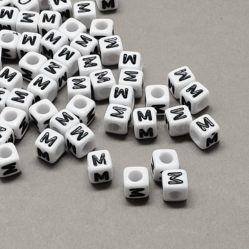 Large Hole Acrylic Letter European Beads, White & Black, Cube with Letter.M, 10x10x10mm, Hole: 4mm(X-SACR-Q103-10mm-01M)