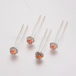 (vente de clôture défectueuse), fourches de cheveux de dame, avec des résultats de fer de couleur argentée et strass, fleur, topaze, 72 mm(PHAR-XCP0001-B01)