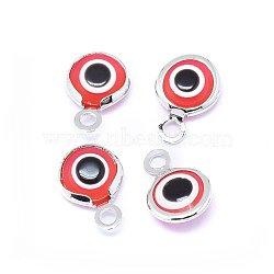 Breloques vernissées de mauvais œil manuelles, avec les accessoires en laiton, plat rond, rouge, Platine plaqué réel, 10x6.5x3mm, Trou: 1.5mm(KK-F764-13P-02)